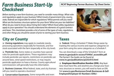 Farm Business Start-Up Checksheet